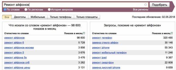 Подбор семантического ядра для сайта онлайн 1