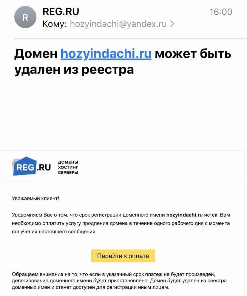 Новый развод в интернете на оплате домена