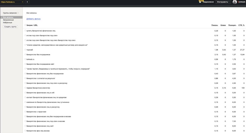 Позиции юридического сайта после трех недель продвижения