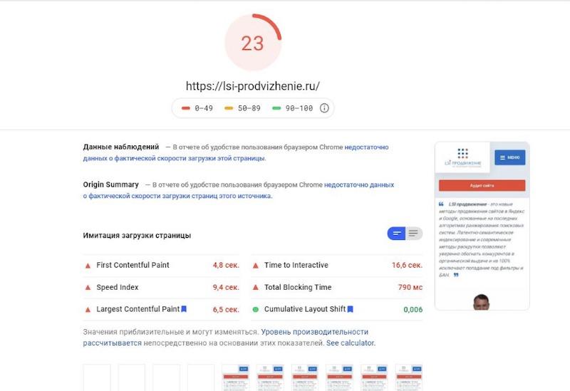Скорость сайта без счетчика Яндекс Метрики