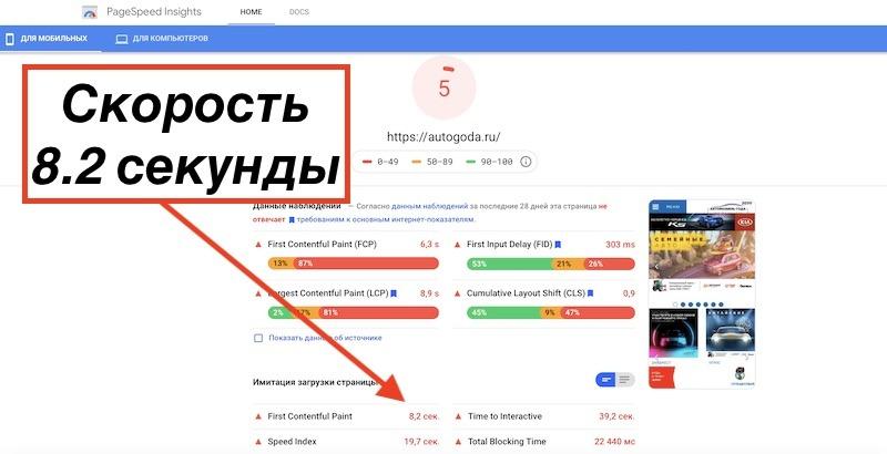 Яндекс любит быстрые сайты
