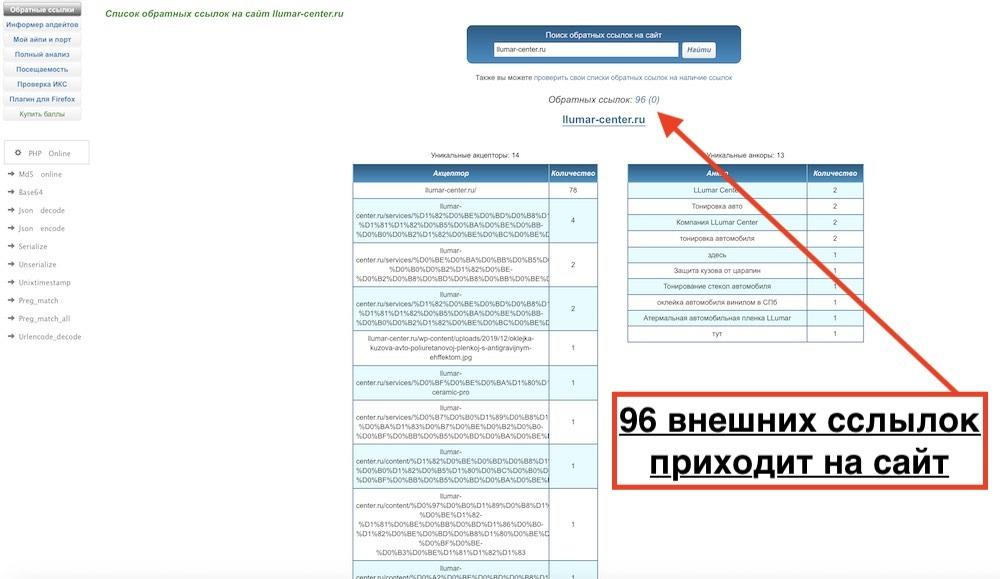 Проверить сайта на внешние ссылки бесплатно