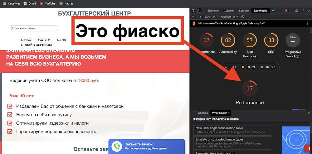 Пример плохого (не качественного) сайта в глазах поисковиков