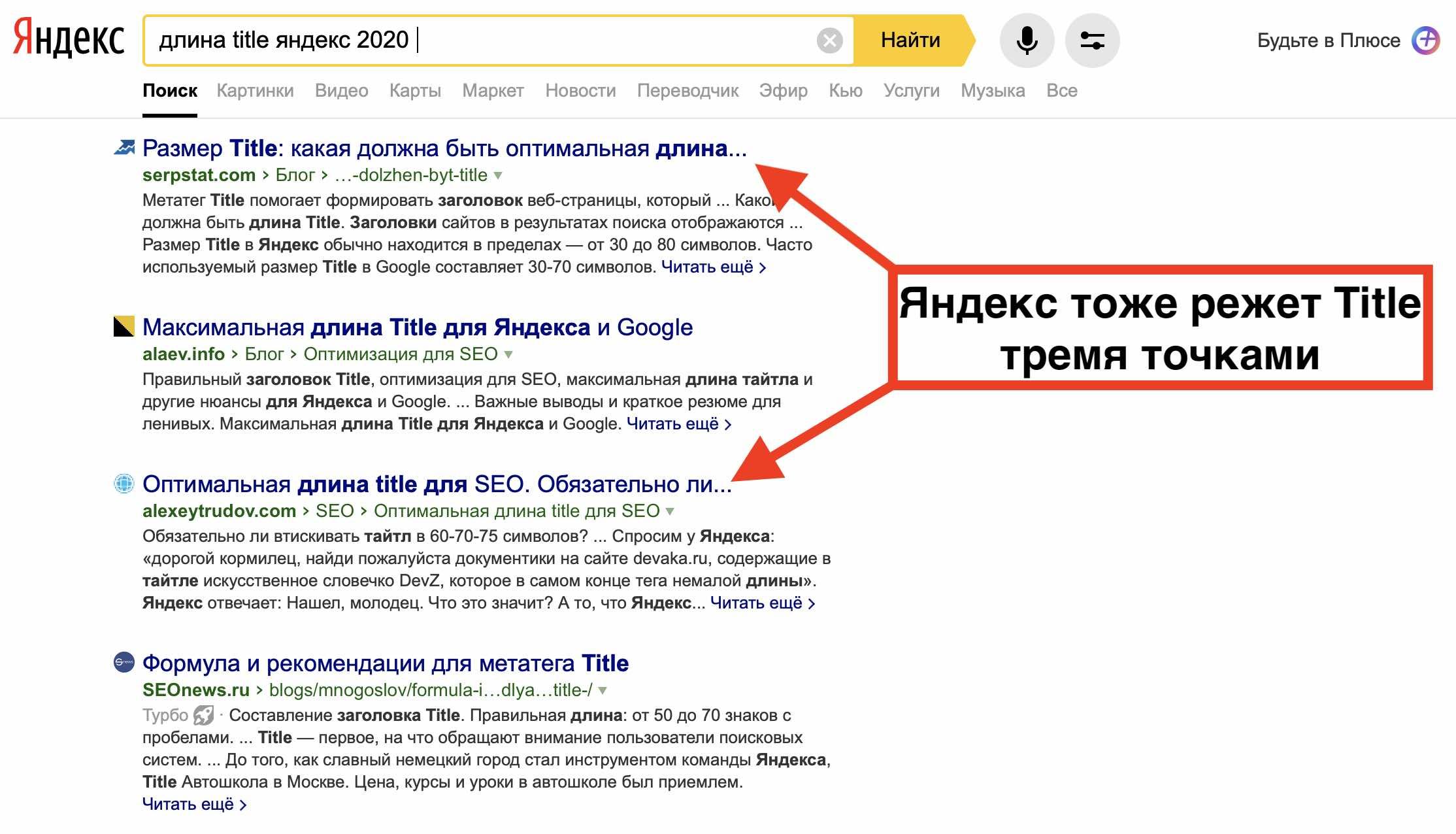 Влияние длинны title на продвижение сайта в Яндекс