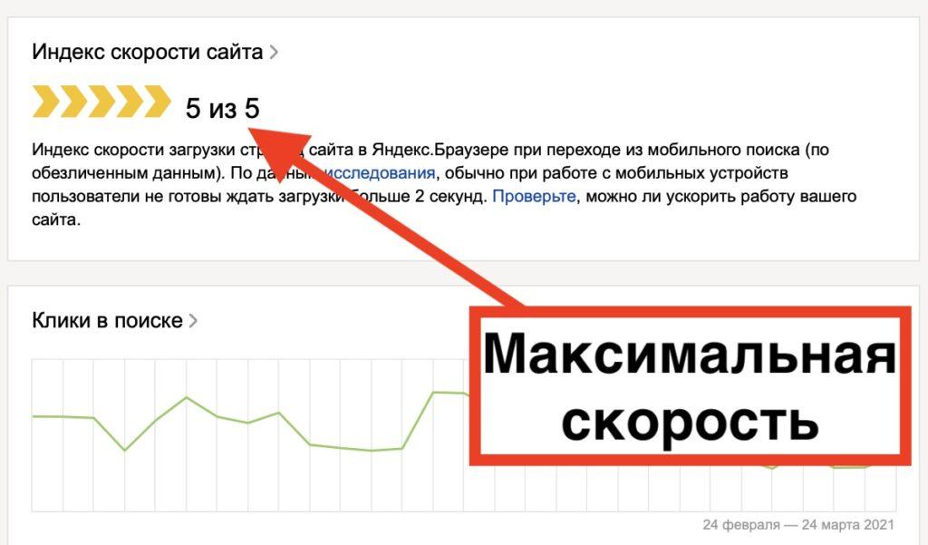 Индекс скорости после удаления Яндекс Метрики