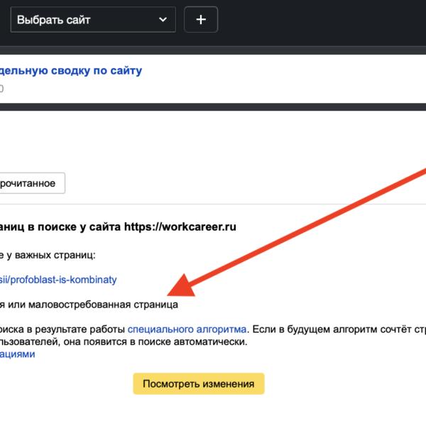 Малоценная или маловостребованная страница | Новый статус страниц в Яндексе