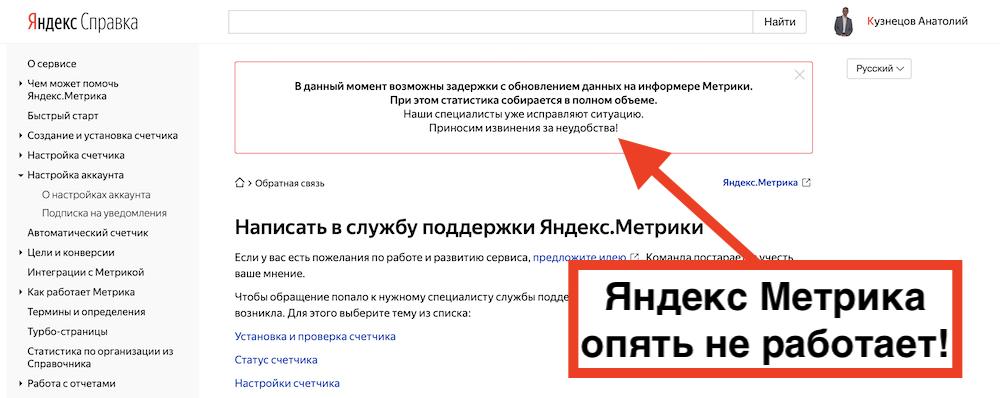 Яндекс Метрика опять не работает (25.03.2021)