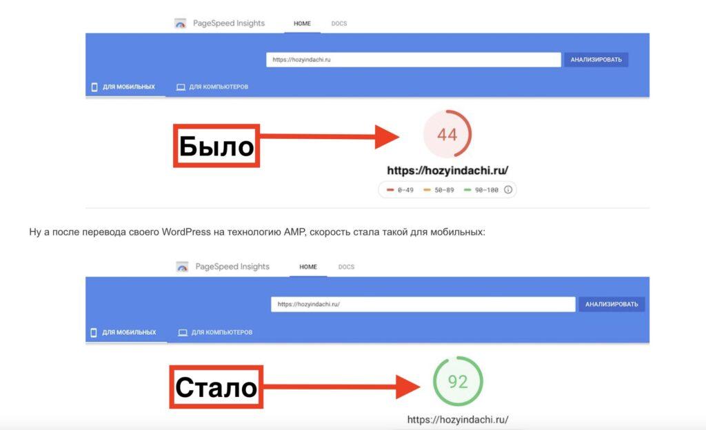 AMP влияет на скорость сайта