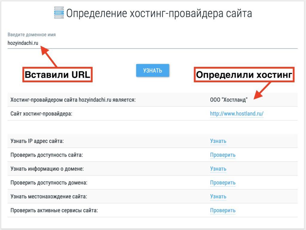 Как узнать хостинг сайта по домену
