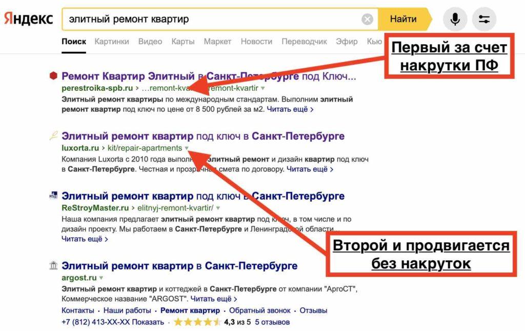 Яндекс не видит накрутку поведенческих факторов