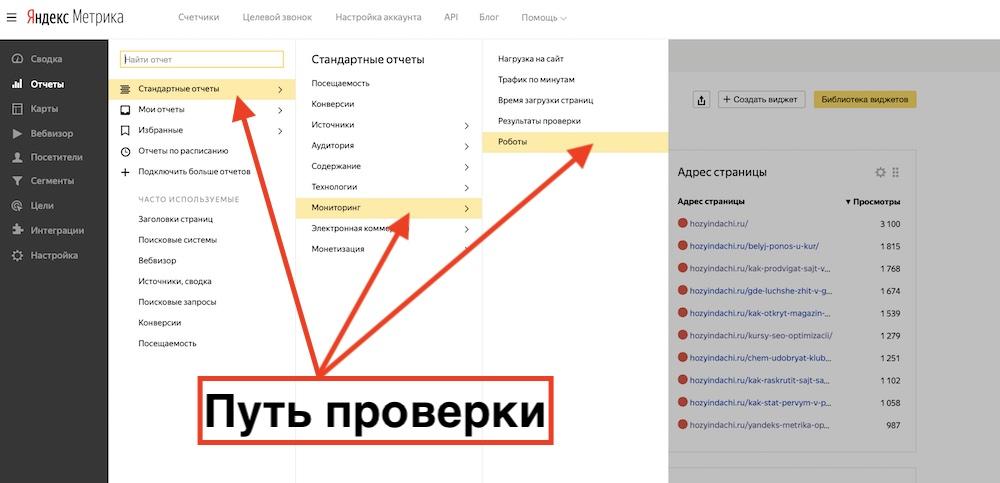 Проверка роботности в Яндекс Метрике