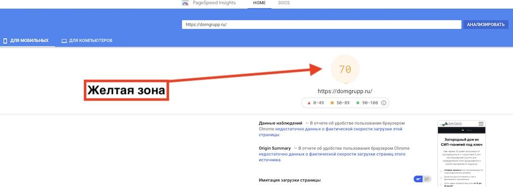 скорость сайта со счетчиком Яндекс Метрика