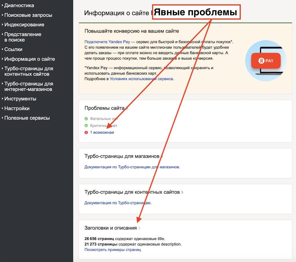 Основные проблемы в Вебмастере у интернет-магазинов