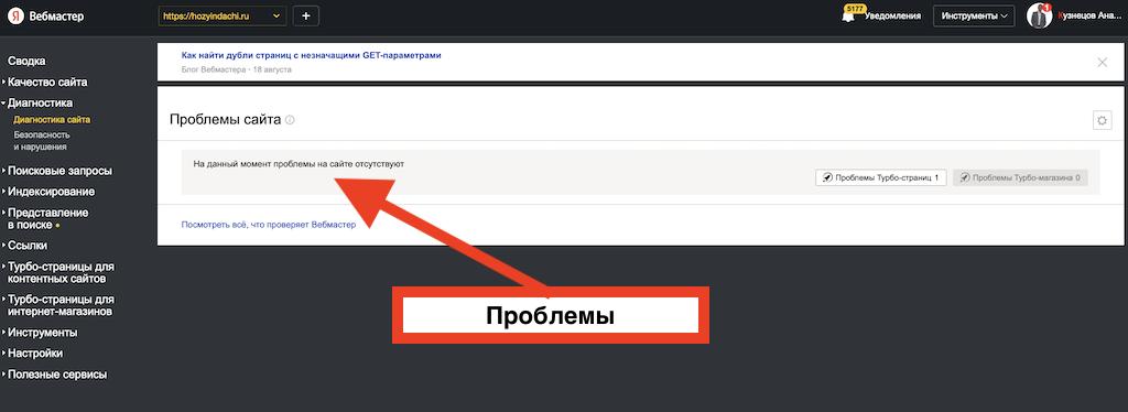 Яндекс Вебмастер проинформировал, что проблем на сайте нет